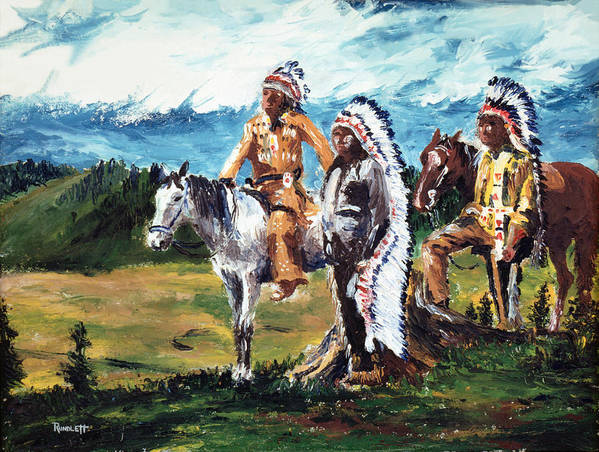 Native Americans Poster featuring the painting Indian Chiefs by Dennis Rundlett