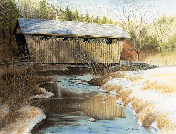 Pastel Poster featuring the pastel Indian Creek Covered Bridge by James Clewell