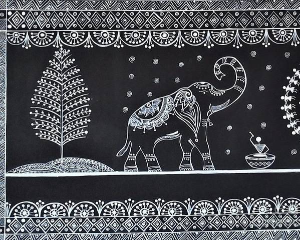 Indian folk art warli painting poster by dhanashree mahesh warli poster featuring the painting indian folk art warli painting by dhanashree mahesh thecheapjerseys Image collections