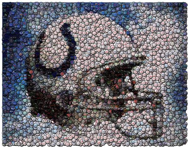 Indy Poster featuring the digital art Indianapolis Colts Bottle Cap Mosaic by Paul Van Scott