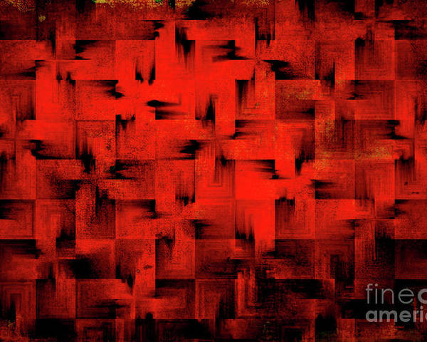 Abstract Poster featuring the digital art Inferno by Silvia Ganora