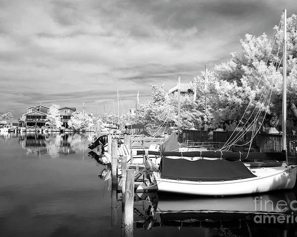 Infrared Boats At Lbi Poster featuring the photograph Infrared Boats At Lbi Bw by John Rizzuto