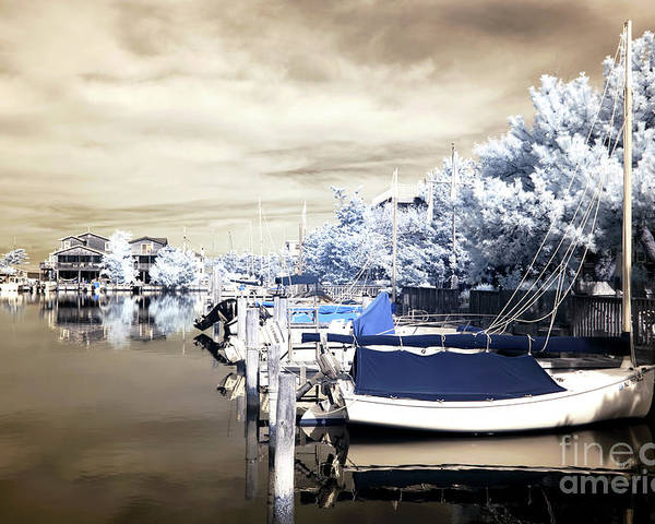 Infrared Boats At Lbi Poster featuring the photograph Infrared Boats At Lbi by John Rizzuto