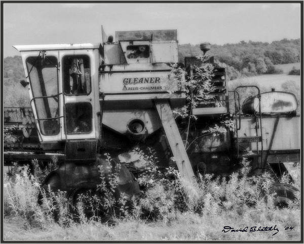 Farm Poster featuring the photograph Infrared Bw Old Farm Combine by David Blatchley