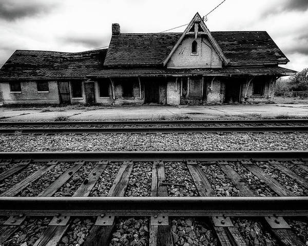 Black And White Poster featuring the photograph Ingersoll Train Station  by Karl Anderson