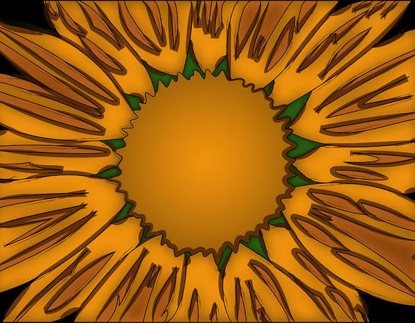 Ink Poster featuring the painting Ink Sunflower by Christopher Sprinkle