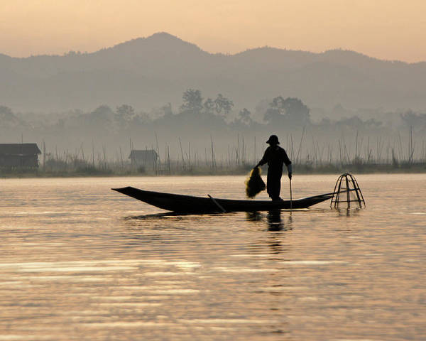 Asia Poster featuring the photograph Inle Lake Fisherman by Michele Burgess