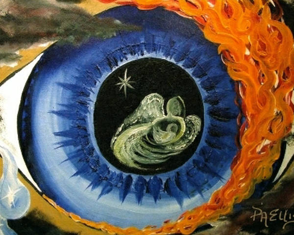 Large Blue Eye Surrounded By Black Poster featuring the painting Inner Sight by Pam Ellis