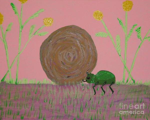 Dung Bettle Poster featuring the painting Insect Happy Meal by Gregory Davis