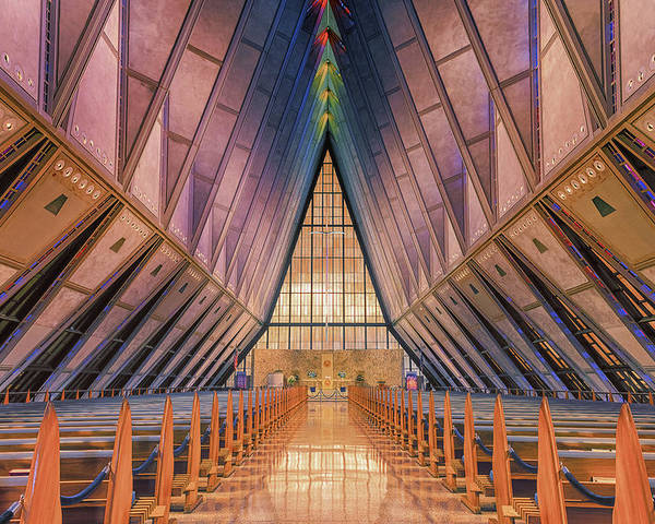 Luis A Ramirez Poster featuring the photograph Inside The Cadet Chapel by Luis A Ramirez