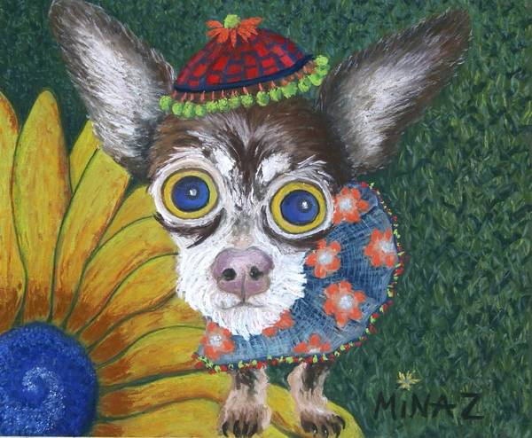 Chihuahua Poster featuring the painting Inside Van Gogh's Garden Sits Sunflower Sally by Minaz Jantz