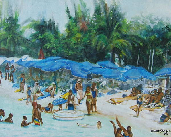 At The Beach Poster featuring the painting Intimacy On Vacation by Howard Stroman