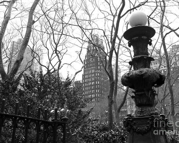 Into Bryant Park Mono Poster featuring the photograph Into Bryant Park Mono by John Rizzuto
