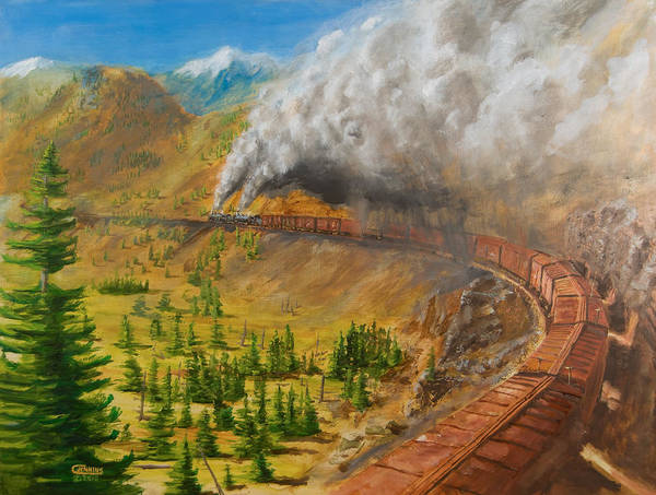Train Poster featuring the painting Into The Front Range by Christopher Jenkins
