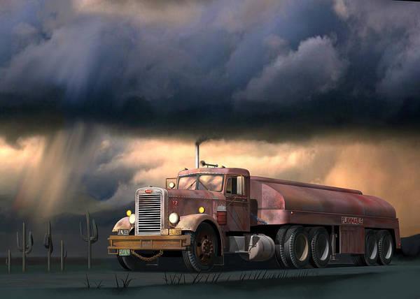 Peterbilt Poster featuring the digital art Into The Storm by Stuart Swartz