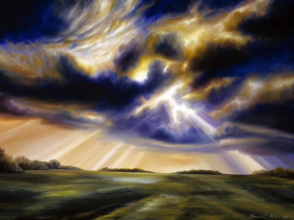 Sunrise; Sunset; Power; Glory; Cloudscape; Skyscape; Purple; Red; Blue; Stunning; Landscape; James C. Hill; James Christopher Hill; Jameshillgallery.com; Ocean; Lakes; Storms; Lightning; Rain; Rays; God Poster featuring the painting Iowa Storms by James Christopher Hill