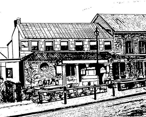 Irish Landscape Poster featuring the drawing Irish Pub by Monica Engeler