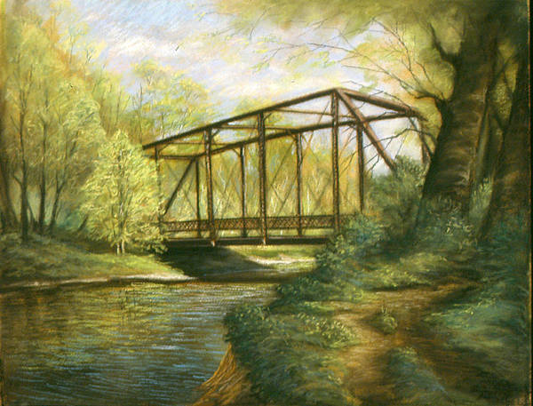 Landscape Poster featuring the pastel Iron Bridge Over Cicero Creek by Michael Scherer