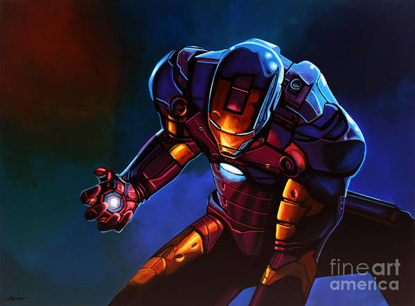 Iron Man Poster featuring the painting Iron Man by Paul Meijering