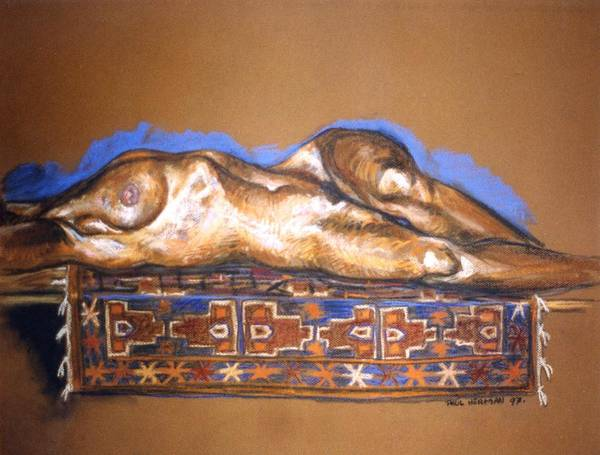 Nude Poster featuring the painting Isabel On Afghan Carpet by Paul Herman