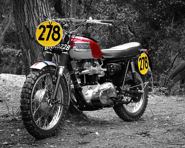 Motorcycle Poster featuring the photograph Isdt Triumph Steve Mcqueen by Mark Rogan