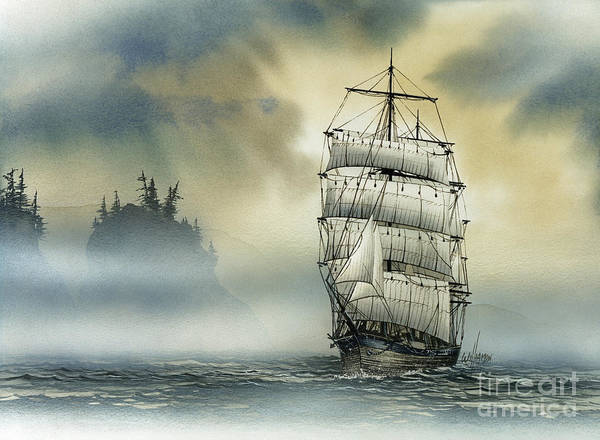 Tall Ship Print Poster featuring the painting Island Mist by James Williamson