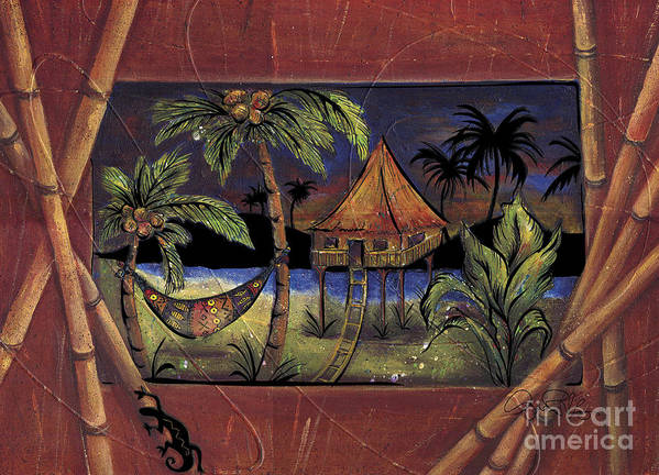 Tropical Poster featuring the painting Island Night by Gina Rivas-Velazquez