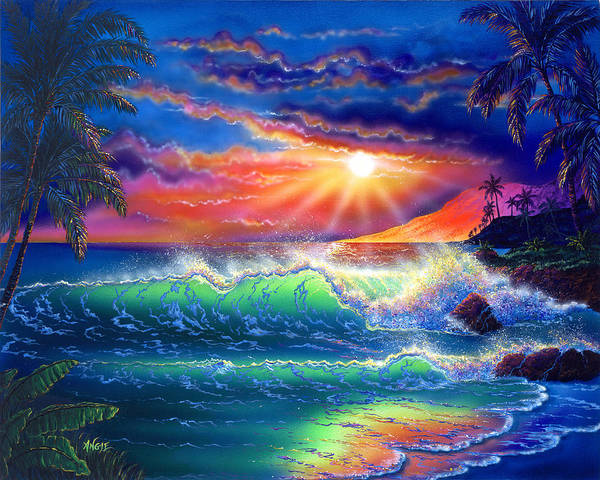 Seascape Poster featuring the painting Island Paradise by Angie Hamlin
