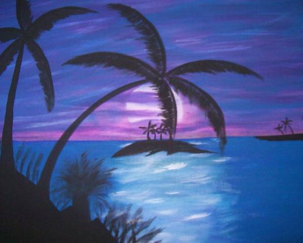 Purple Poster featuring the painting Island Sunset by Paula Ferguson