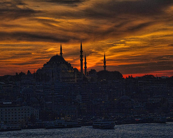 Dramatic Poster featuring the photograph Istanbul Sunset - A Call To Prayer by David Smith