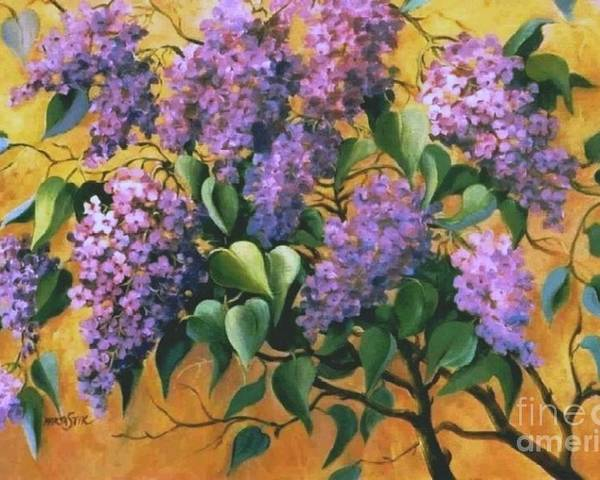 Flovers Poster featuring the painting It Is Lilac Time 2 by Marta Styk