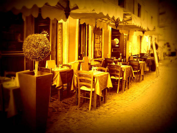 Italy Poster featuring the photograph Italian Cafe In Golden Sepia by Carol Groenen