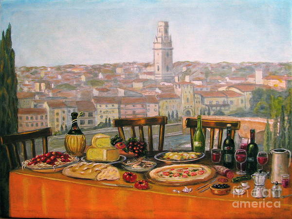 Angelica Dichiara Poster featuring the painting Italian Cityscape-verona Feast by Italian Art
