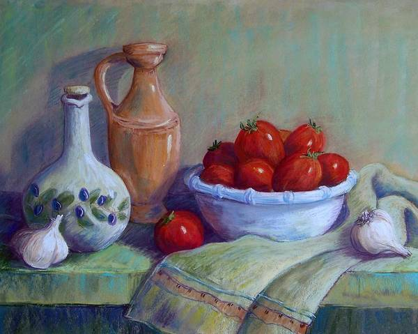 Still Life Poster featuring the pastel Italian Still Life by Candy Mayer