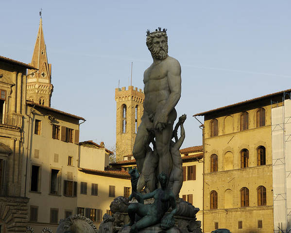 Building Exterior Poster featuring the photograph Italy, Florence, Neptune Fountain by Sisse Brimberg & Cotton Coulson