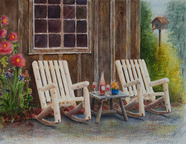 Chairs Poster featuring the painting It's Five O'clock Somewhere by Karen Fleschler