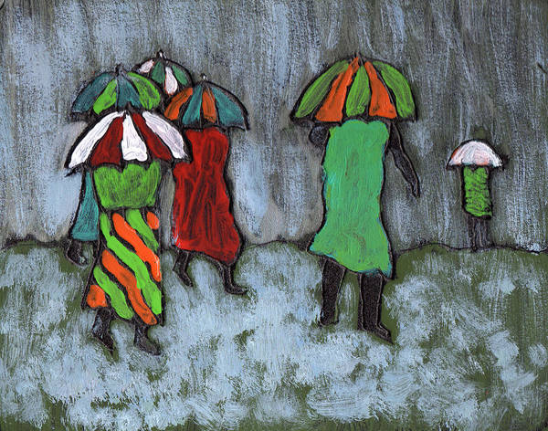 Etnic Poster featuring the painting It's Raining It's Pouring by Wayne Potrafka