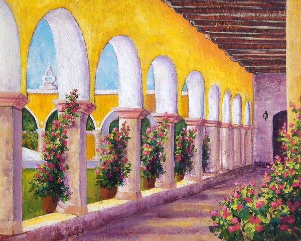 Landscape Poster featuring the painting Izamal Arches by Candy Mayer
