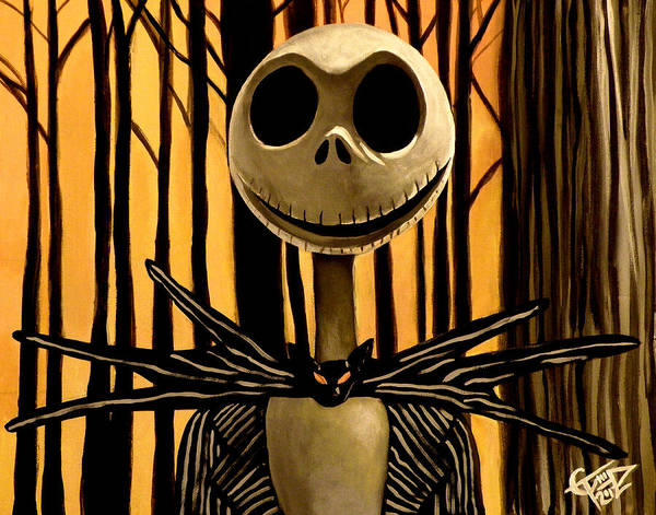 Nightmare Before Christmas Poster featuring the painting Jack Skelington by Tom Carlton