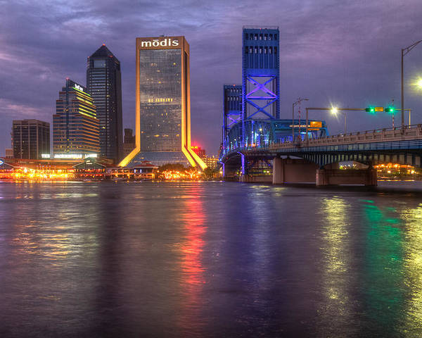 Clouds Poster featuring the photograph Jacksonville At Dusk by Debra and Dave Vanderlaan