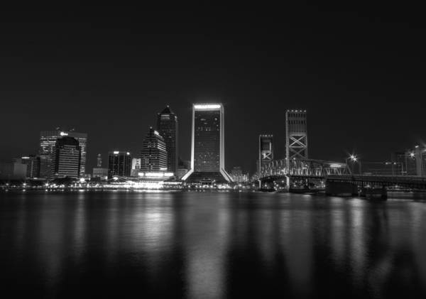 Jacksonville Landing Poster featuring the digital art Jacksonville Landing At Night by Sharon Batdorf