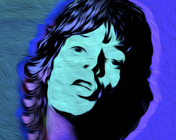 Mick Jagger Poster featuring the painting Jagger Blue,nixo by Supreme Inc