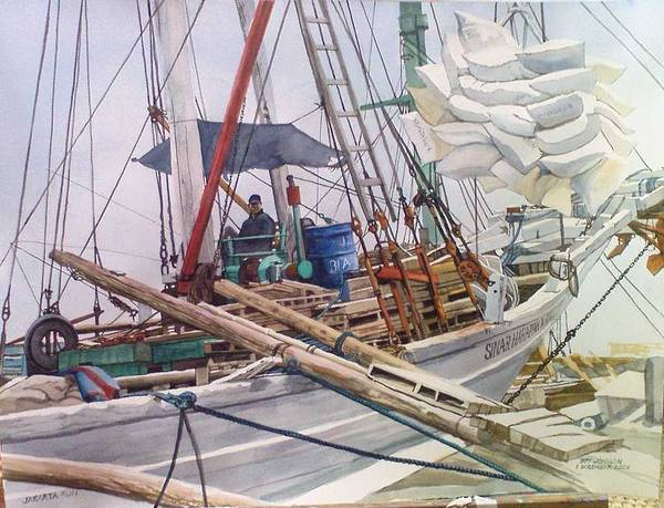 Maritime Poster featuring the painting Jakarta Run by Tim Johnson