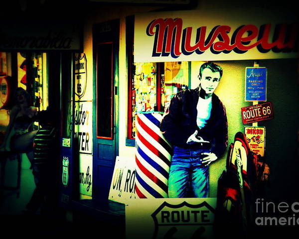 James Dean Poster featuring the photograph James Dean On Route 66 by Susanne Van Hulst