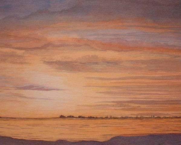 Landscape Poster featuring the painting January Sunrise by Lynn ACourt
