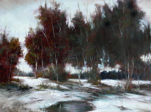 Winter Landscape Poster featuring the painting January Thaw by JoAnne Lussier
