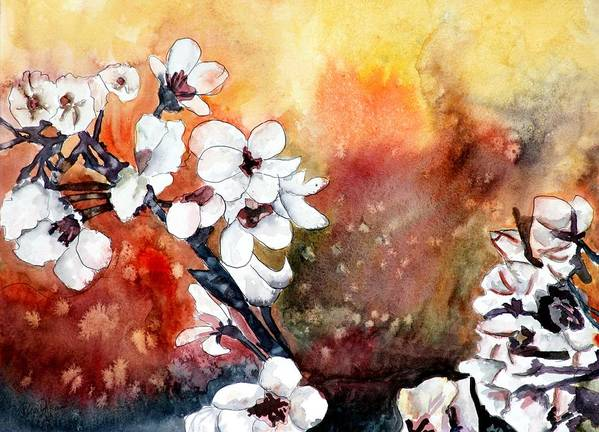 Watercolor Poster featuring the painting Japanese cherry blossom abstract flowers by Derek Mccrea