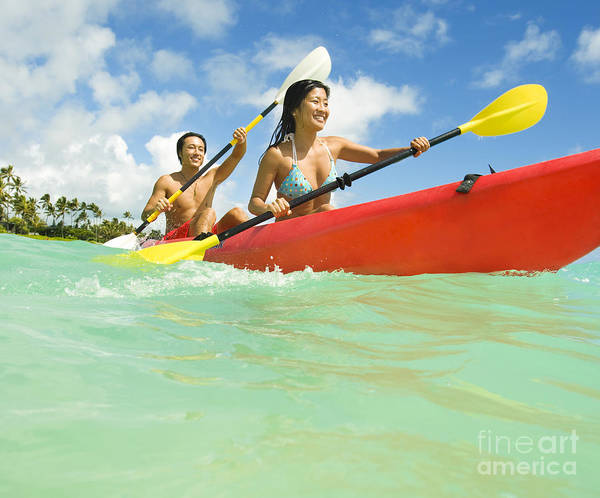 Active Poster featuring the photograph Japanese Couple Kayaking by Dana Edmunds - Printscapes