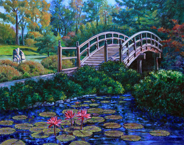 Japanese Bridge Poster featuring the painting Japanese Garden Bridge by John Lautermilch