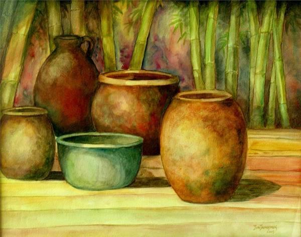 Jars Poster featuring the painting Jars Basking by Jun Jamosmos